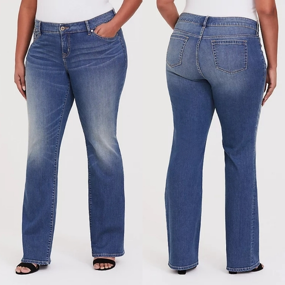 Torrid Relaxed Boot Medium Wash Jeans with Grommet